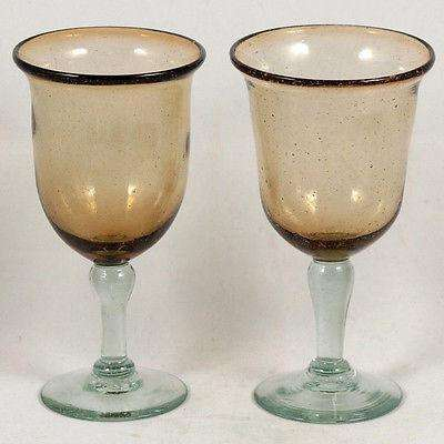 Mexican Wine Glasses Hand Made Glass Clear Bubbles set of 2 16oz Original