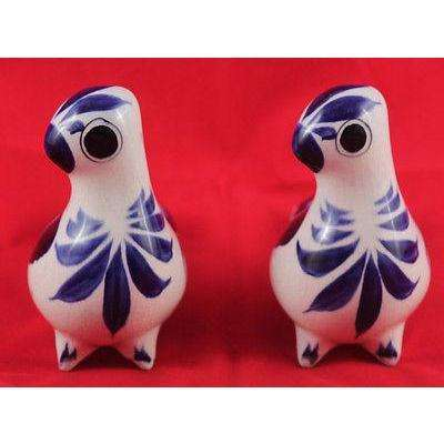 Vintage Mexican Ceramic Birds (set of 2)  Hand Painted, Hand Made.