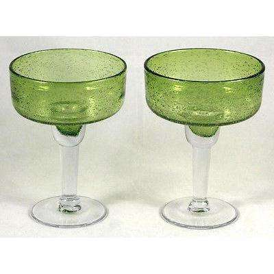sold out margarita glasses authentic mexican hand blown green bubble glass 16 oz