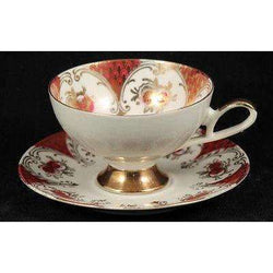 Vintage G.K.C. Bavaria Porcelain Cup & Saucer Collectible Hand Painted Red/White