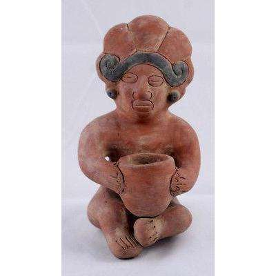 Mayan Mexican figurine Man Woman Holding Vessel Reproduction Pottery figure