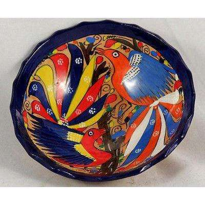 Mexican Ceramic Hanging Bowl Folk Art Hand Made/Painted Glazed 2 Red/Blue Birds
