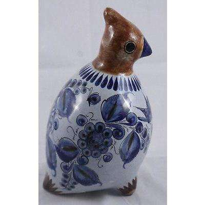 Mexican Ceramic Vintage Bird Pottery Burnished Art Hand Signed Folk Mexico Paint