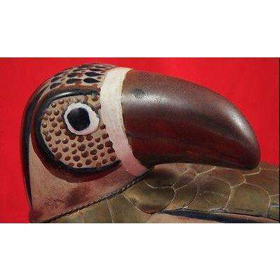 Vintg Mexican Ceramic/Clay Toucan/Bird w Copper Mexico Hndmade/Painted Folk Art