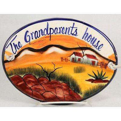 "Mexican Ceramic Hanging Plaque Folk Art ""The Grand Parents House"" Mexico"