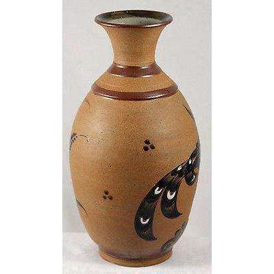 "Mexican Ceramic Vase Pottery Handmade/Painted Folk Art MexicoTacat 13 1/2"" Tall"