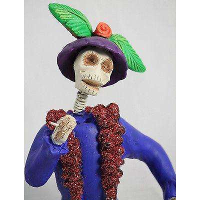 Mexican Catrina Clay Figurine Bobble Head Hnd Made/Painted Day of The Dead