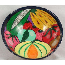 Mexican Ceramic Hanging Bowl Folk Art Hand Made/Painted Glazed Colorful Fruit