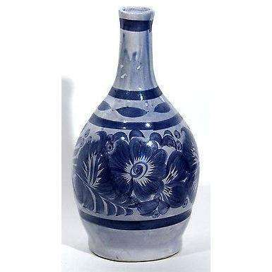 "ceramic vessel mexican hand vase Blue painted 13 1/2"" Tall Flower design"