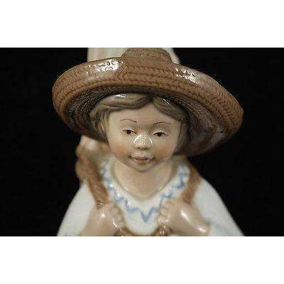 Vntg Mexican Porcelain Boy w Sugar Cane Figurine by Porcelana Cuernavaca 1986/1