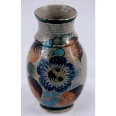 Mexican Ceramic Vase Handmade and Hand Painted With Blue Flower