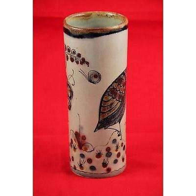 Vintage Mexican Ken Edwards Ceramic Vase, Hand Painted/Thrown Signed, Tonola