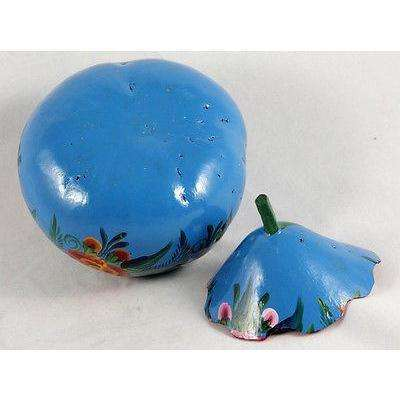 Mexican Gourd Hand Made/Painted Folk Art Mexico Removable Lid Decorative #1