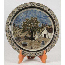 Vintage Mexican Ceramic Plate Folk Art Mexico Hand Painted (Man on Horse) 11""