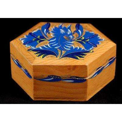 Mexican Wood Trinket Box Beautifully Hand Made, Hand Painted, Rustic, Varnished