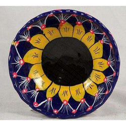Mexican Ceramic Hanging Bowl Folk Art Hand Made/Painted Glazed Big Sunflower