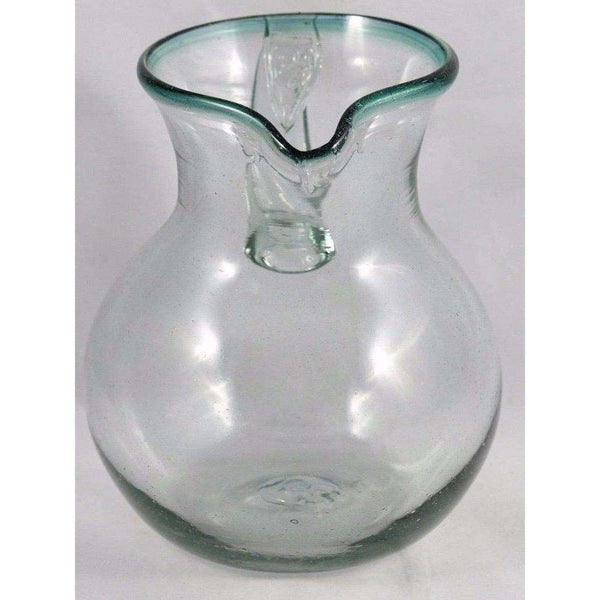 Green Rim Ball Shaped Glass Pitcher Mexico Glassware