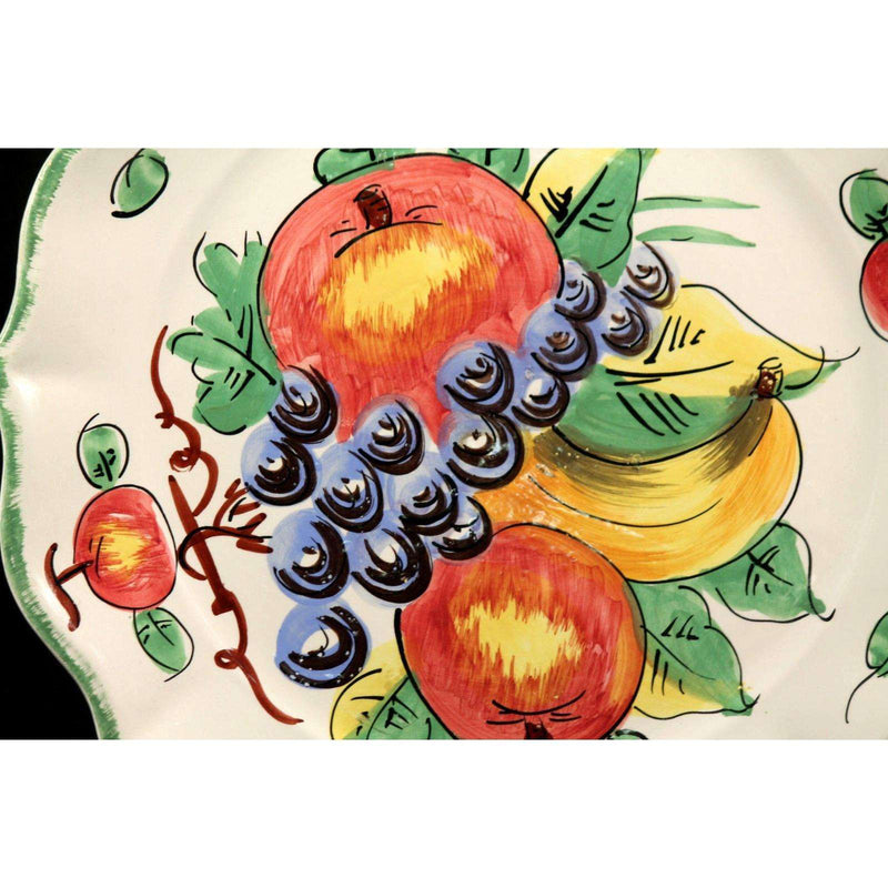 Vintage Italian Ceramic Serving Platter/ Italy Hand Painted Signed Large