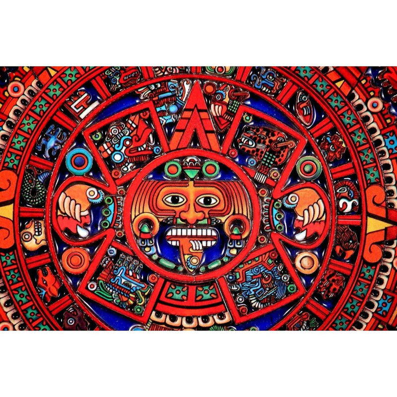 Mexican Wood Hanging Calendar Handmade Carved/Painted Folk Art Mexico Aztec