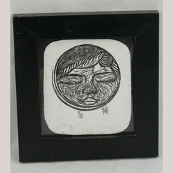 Original Moon Lithograph Mexican Collectible Signed 3/10 Collectible Decor Frame