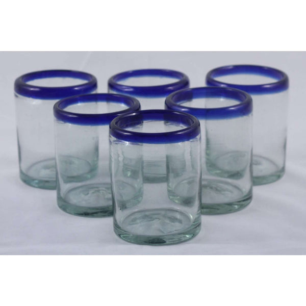 Cobalt Blue Rim Rocks Glasses, Set of 6, Mexican Glassware, Glass
