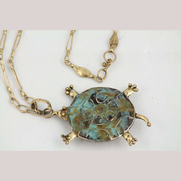 Hand Crafted Necklace Jewelry Mexican Folk Art Bronze Turtle Collectible Stamped