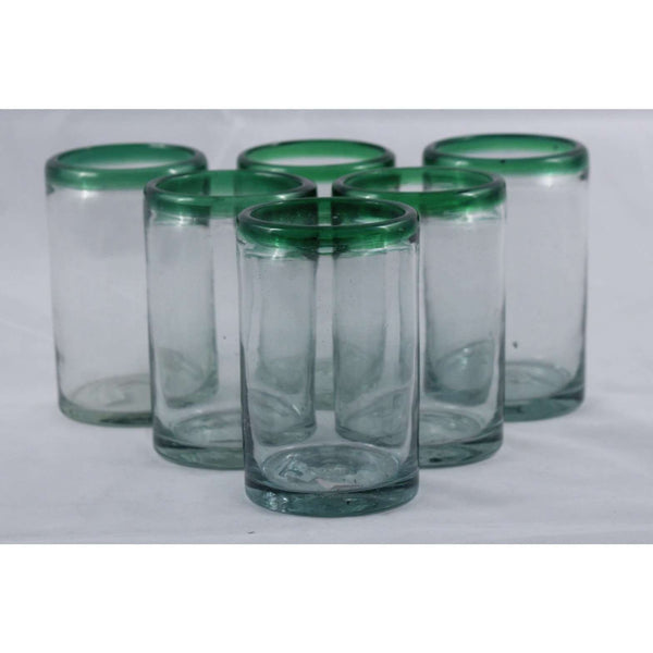 Green Rim, Glass Tumblers, Set of 6, Hand Crafted Mexican Glassware