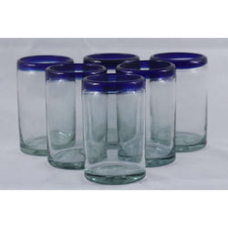 Cobalt Blue Rim, Glass Tumblers, Set 6, Mexican Glassware Hand Crafted