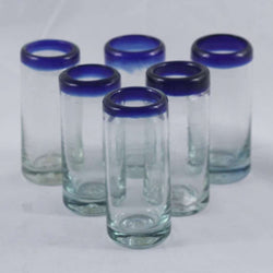 Cobalt Blue Rim Shot Glasses, Set of 6, Mexican Glassware, Hand Crafted