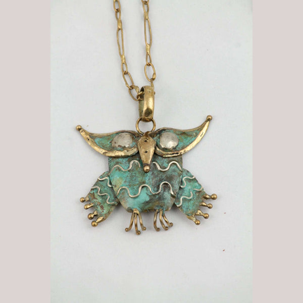 Hand Crafted/Tooled Necklace/Jewelry Mexican Folk Art Bronze Collectible OWL