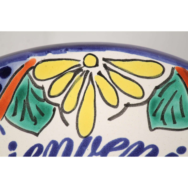 Mexican Hanging Ceramic Oval Tile Handcrafted/ Painted Spanish Welcome
