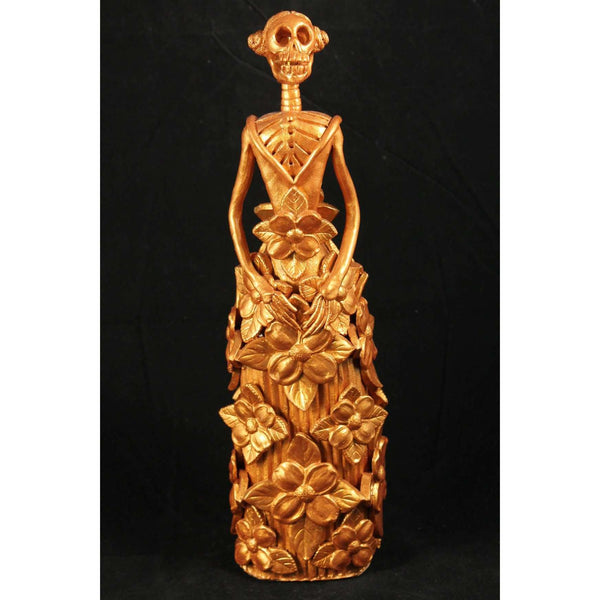 Unique Mexican Catrina Clay Gold Figurine Day of The Dead