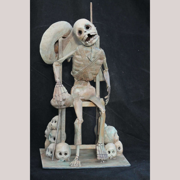 Mexican Paper Mache Revolutionary Skeleton Soldier Folk Art Signed Bobadilla