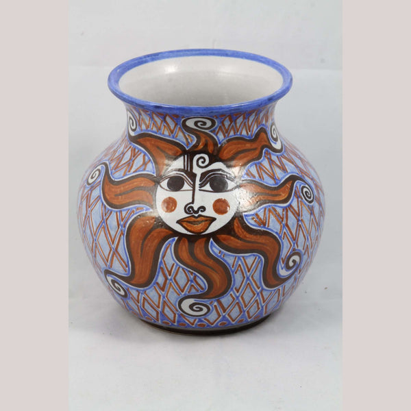 Happy Sun Ceramic Vase Mexican Guadalupe Rios