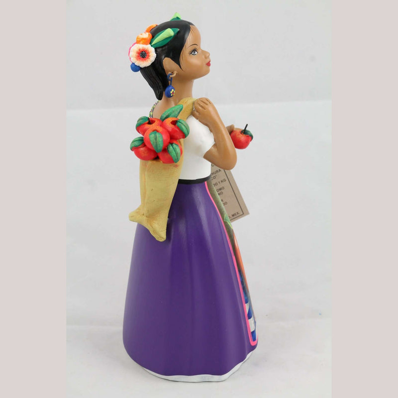 Lupita Najaco Ceramic Doll Apples in Bag Mexican Pottery Plum