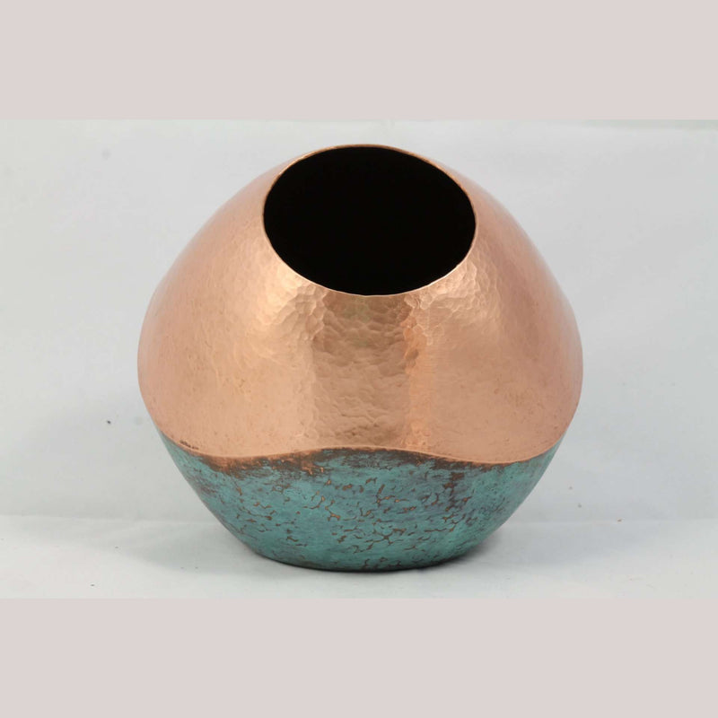 New Copper/Oxidized Vase/Vessel Home Decor from Santa Clara, Mexico Wavy