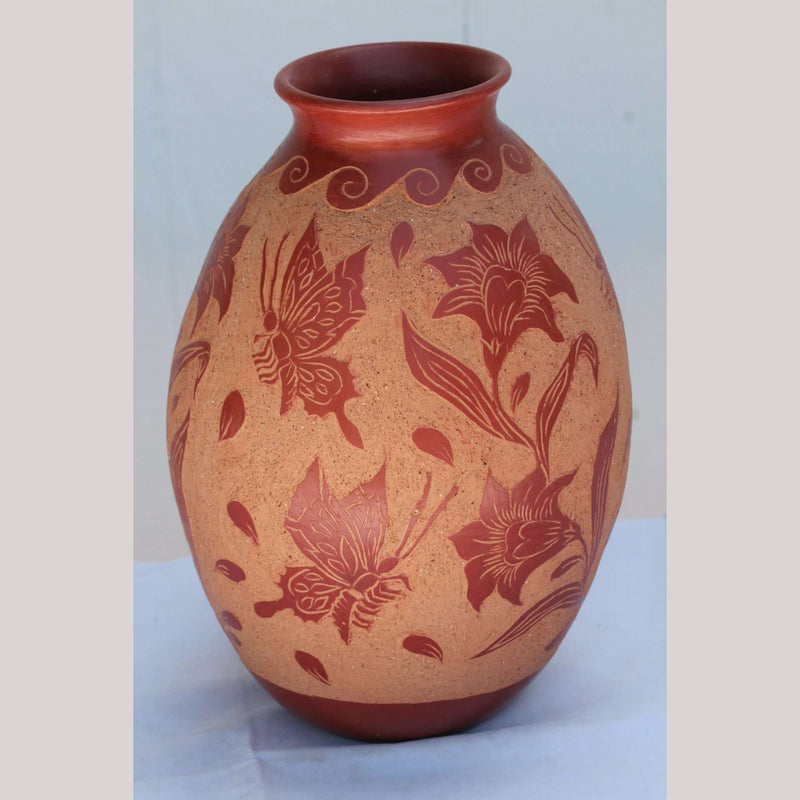 Ceramic Vase Ventura Hernandez Potter Mexico Fine Collection Folk Art Butterflies