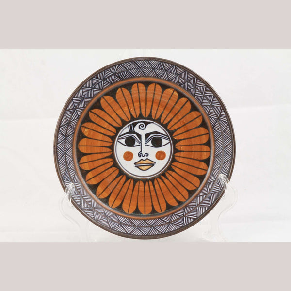Ceramic Medium Sun Bowl Mexican Folk Art Collectible Handmade Guadalupe Rios