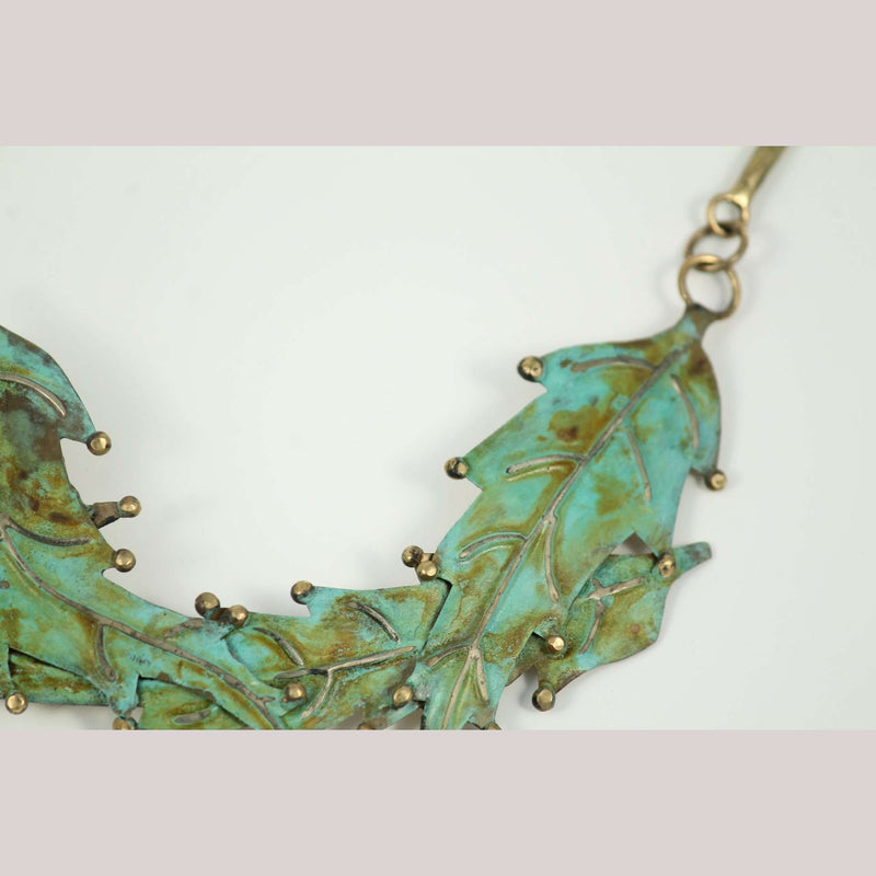 "Hand Crafted Original Bronze ""Leaves #2"" Necklace Mexican Art Custom Jewelry"