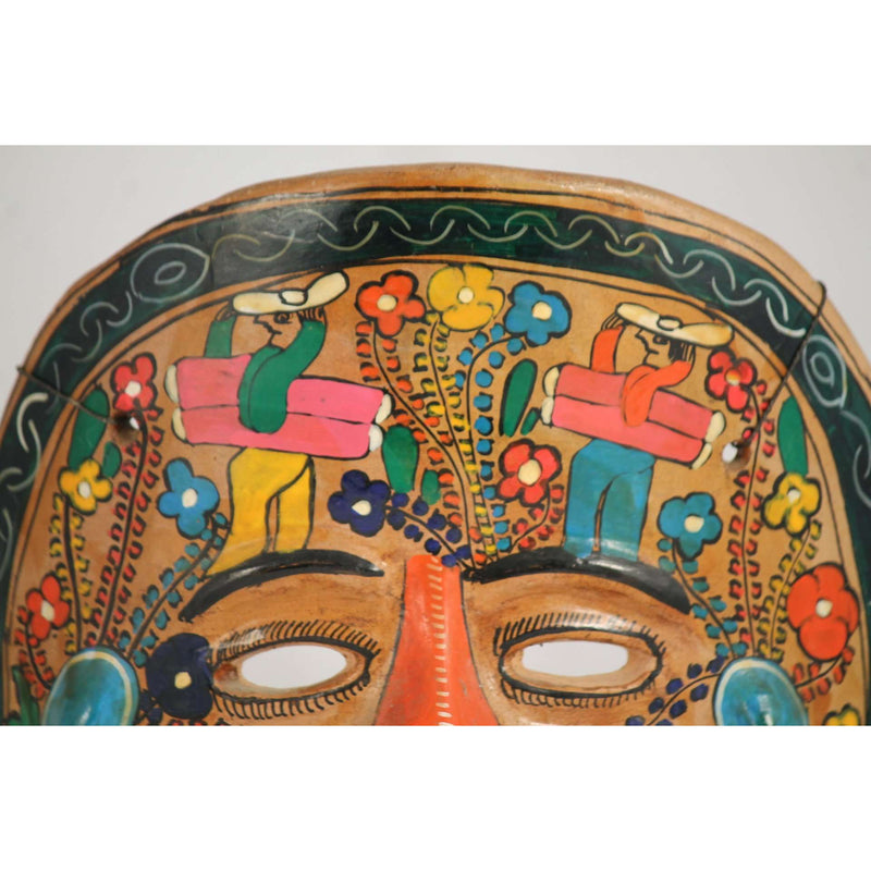 Vintage Mexican Ceramic Hanging Mask with Rabbits, Hand Crafted