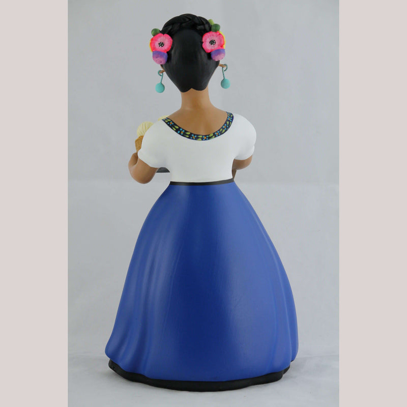 Najaco  Lupita  Female Ceramic Doll Cheese Basket Original Royal Blue