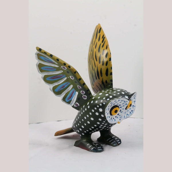 Wood Owl by Jorge Sierra Morales Mexican Green /Multi Color Alebrije