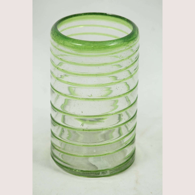Lime Green Spiral, Glass Tumblers, Set of 6, Hand Crafted Mexican Glassware