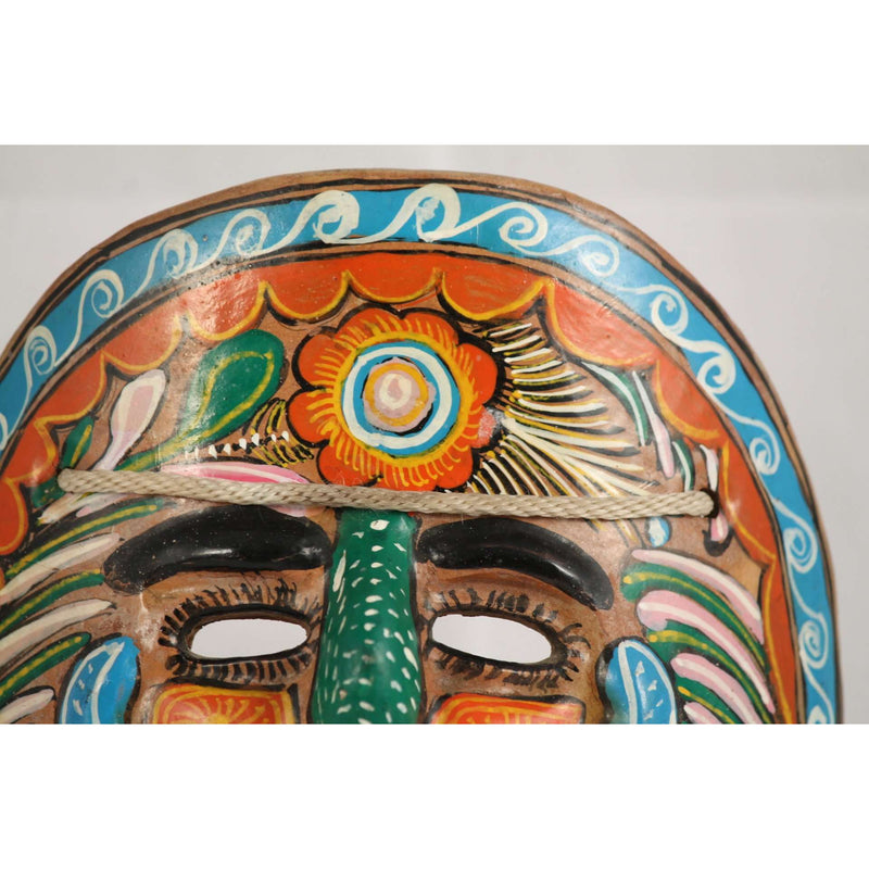 Vintage Mexican Ceramic Hanging Mask from 1960's, Hand Crafted