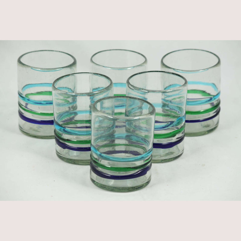 Three Bands of Color, Rocks Glasses, Set of 6, Hand Crafted Mexican Glassware
