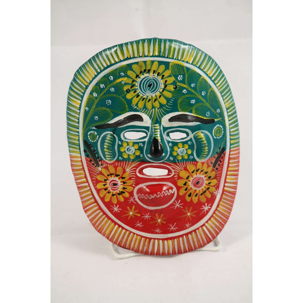 Vintage Mexican Ceramic Hanging Mask Hand Crafted Green/Red