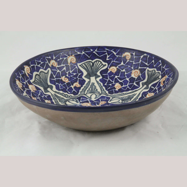 Lg Ceramic/Pottery Blue Bowl w Fish Mexican Fine Art Collectible Decor Chichipan