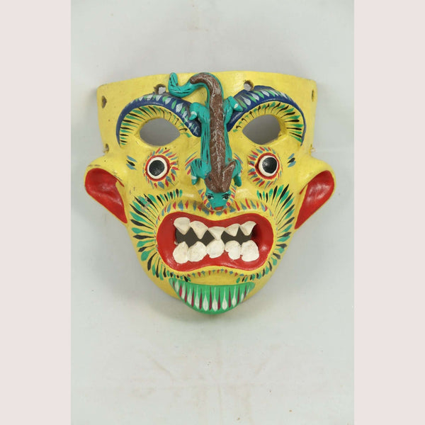 Vintage Mexican Ceramic Hanging Lizard Mask Ortega, Yellow