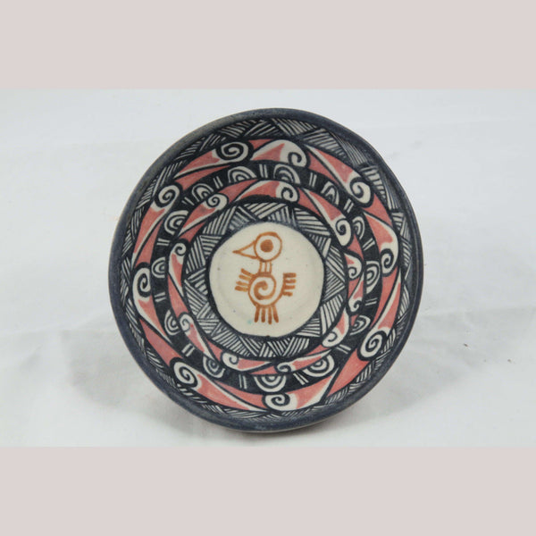 Ceramic Pale Bowl w Pre Hispanic Bird Mexican Folk Art Carmen Chichipan