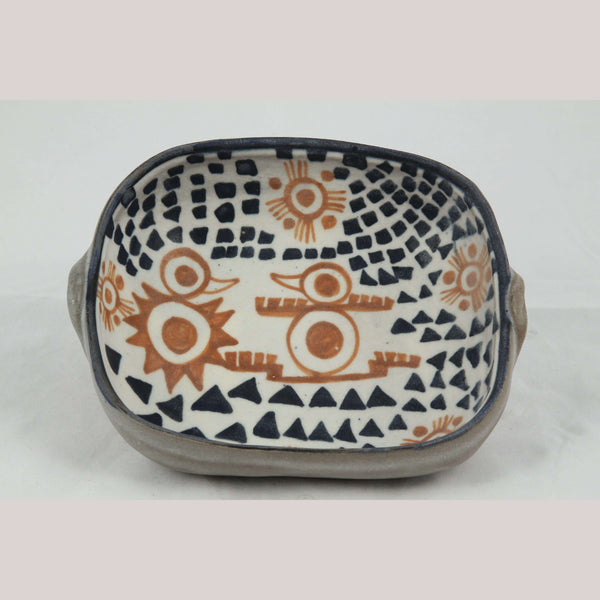 Rectangle Ceramic/Pottery Bowl Mexican Folk Art Pre Hispanic Figures Chichipan